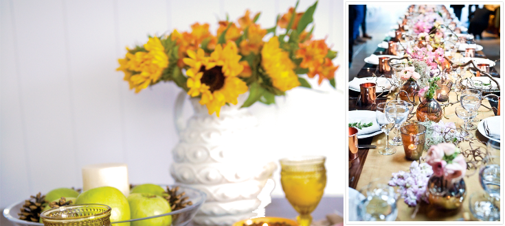 sunflower, table with flowers, parties with flower, project fairytale