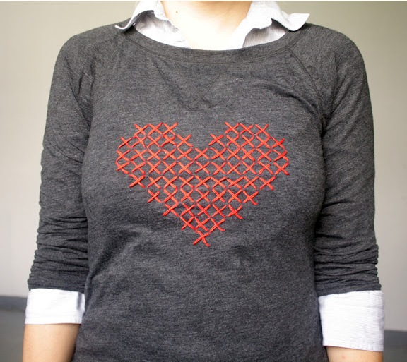 diy heart sweater tee cross stitch do it your self project cheap look for less jcrew graphic print