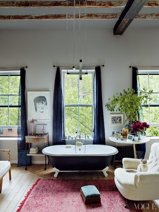 living room with bathroom