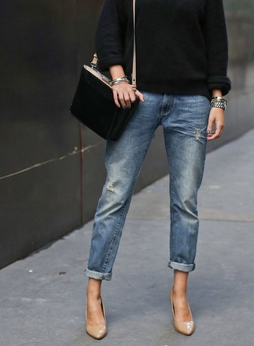 frenchvoguettes nude shoes cuffed jeans