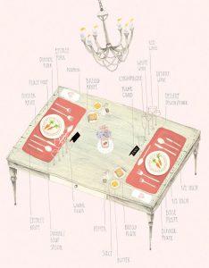 table setting illustration amy borrell