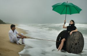 beach green umbrella black outfit