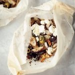 spring packages with mushrooms, cuscus and olives