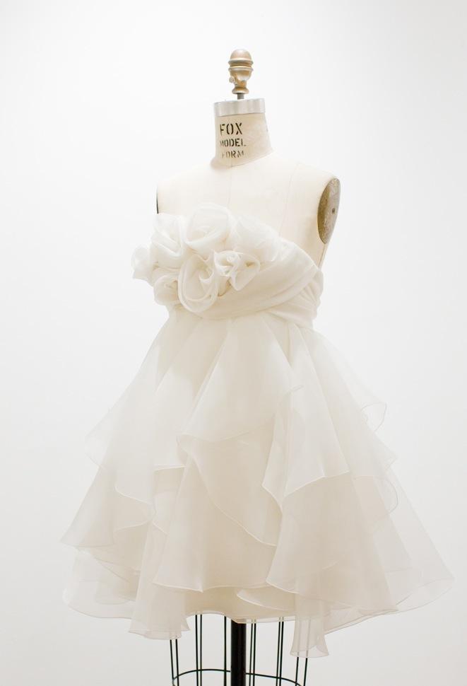 fairytale wedding dress short ruffled roses