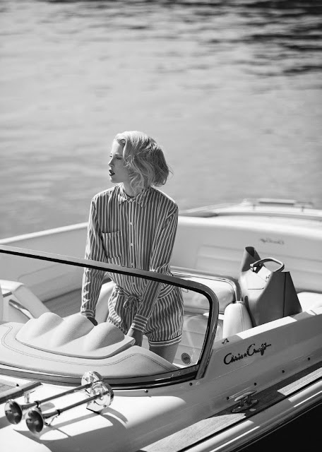 on the boat black and white photography striped romper suit bag