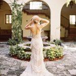 dramatic wedding gown villa inner courtyard fountain