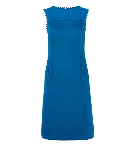 daring blue tunic dress hobbs scalopped edges