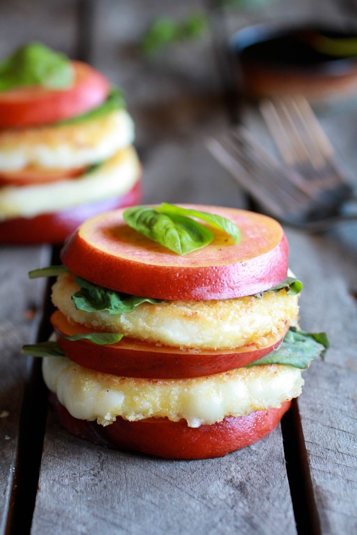 basil Basil and Nectarine Stacks with Balsamic Glaze Fried Mozzarella ...