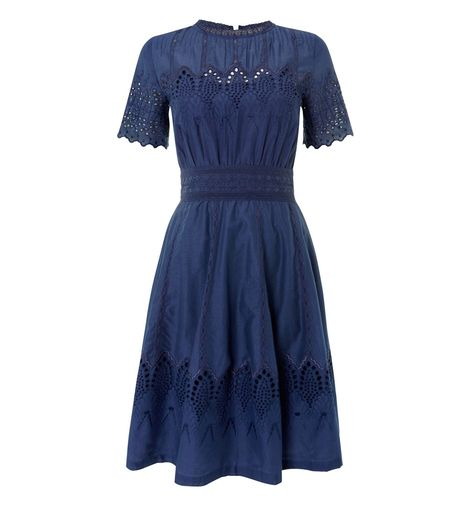 obbs dress cobalt broderie anglaise cotton