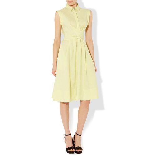 hobbs yellow dress tie waist shirt dress2