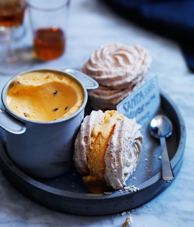 oasted coconut meringue sandwiches with passionfruit ice-cream