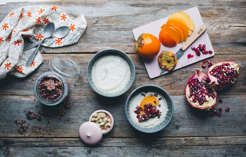 Cashew yogurt pomegranate