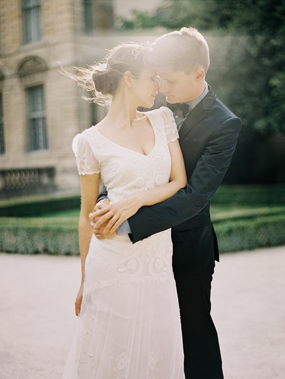 romantic parisian wedding gorgeous wedding dress