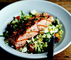 Project Fairytale: Grilled Salomon With Orzo, Feta and Red Wine Vinaigrette