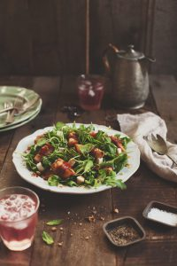 Peach and prosciutto salad with apple cider vinegar syrup || Project Fairytale