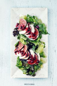Project Fairytale: Mozarella, figs, cranberries caprese