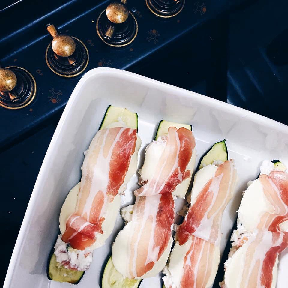 @pfairytale Zucchini with ricotta, salmon, mozzarella and bacon