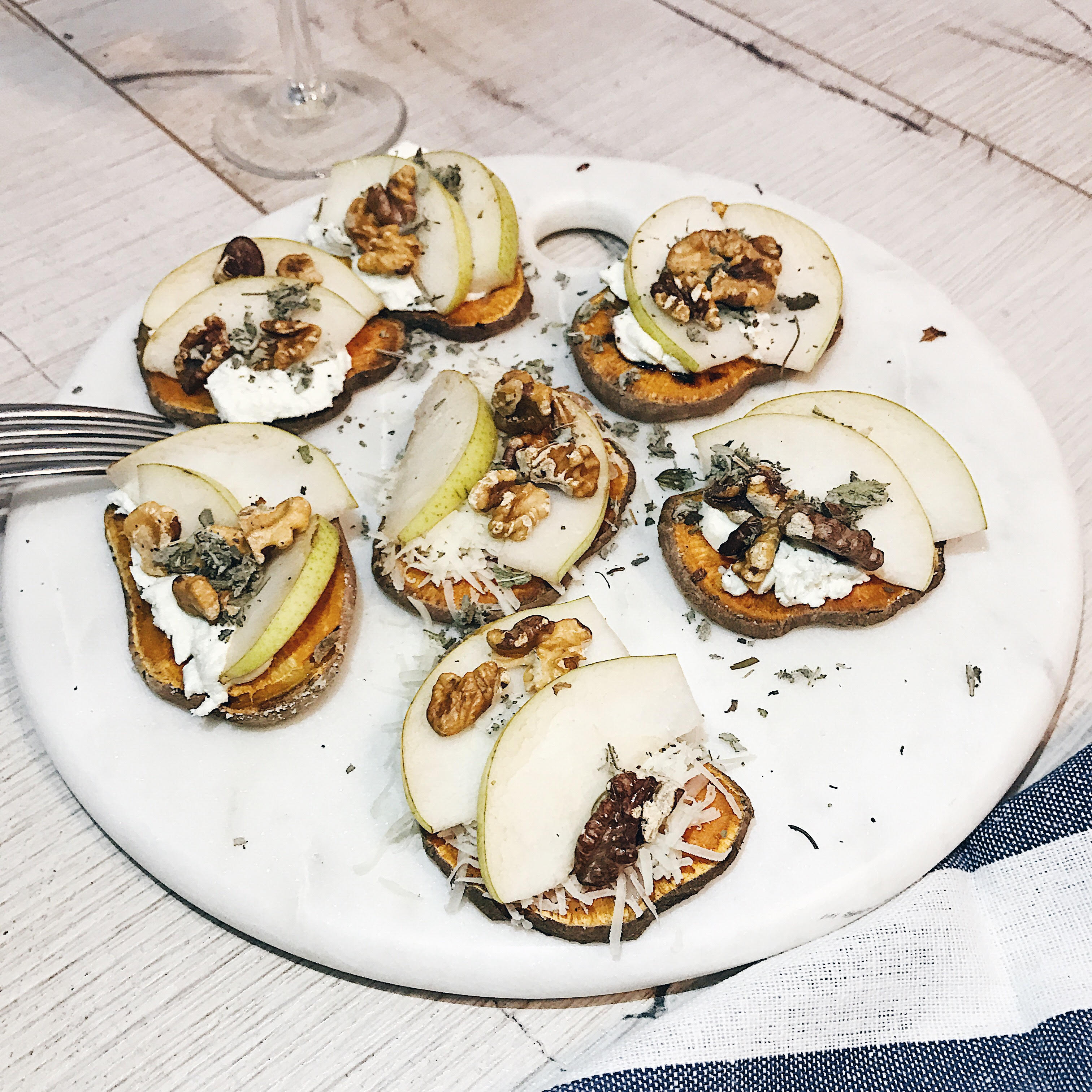 @projectfairytale: Sweet Potato Crostinis with Goat Chees, Gruyere, Pears and Nuts