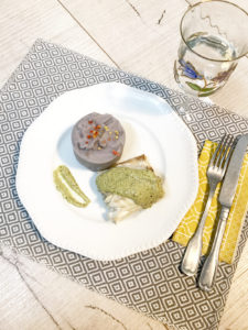 @projectfairytale: Purple Potatoes Puree with Baked Seabass and Green Sauce