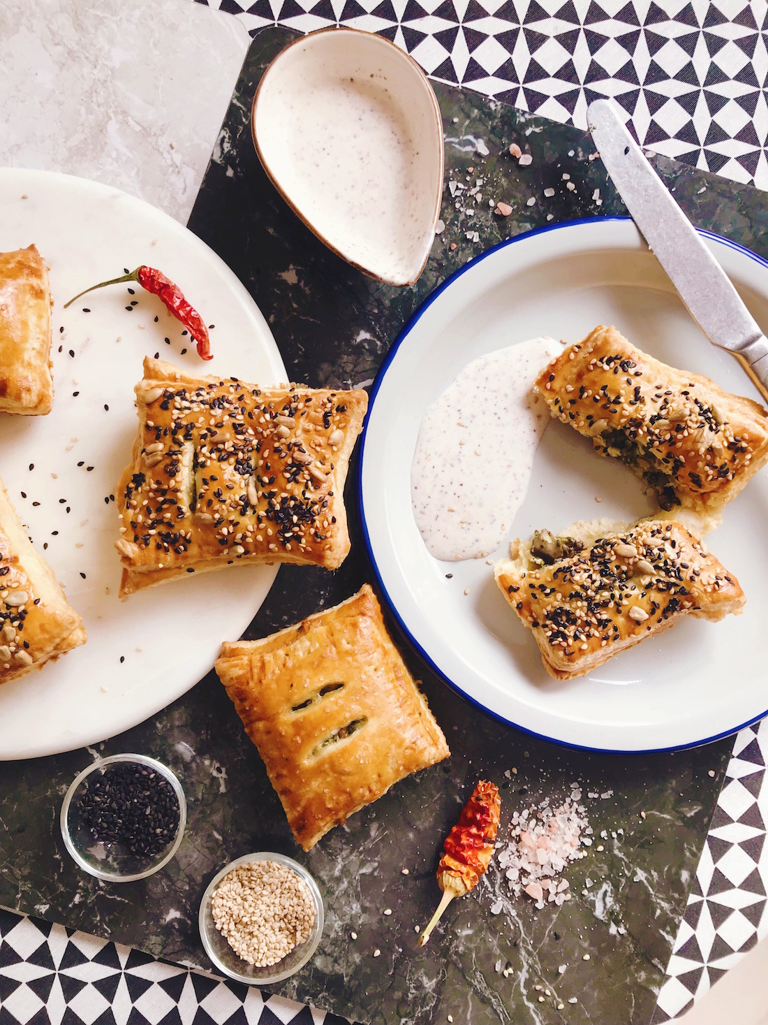 @projectfairytale: cheesem spinach and mushrooms flaky pastries